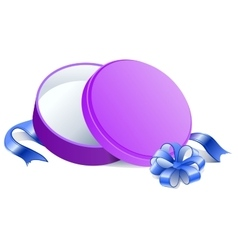 Purple round open gift box vector