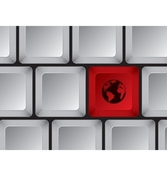 Computer keyboard with red button with planet vector