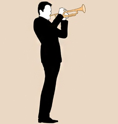 Trumpet player silhouette vector