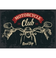 Biker driving a motorcycle rides road trip vector