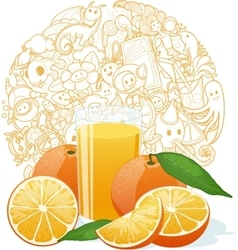 Fresh orange juice fruit and slices vector