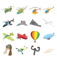 Aviation icon set cartoon style vector