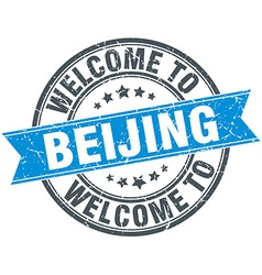Welcome to beijing blue round vintage stamp vector