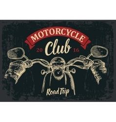 Biker driving a motorcycle rides road trip vector
