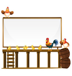 board template with chickens and barrels vector image
