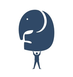 Businessman lifting elephant icon vector
