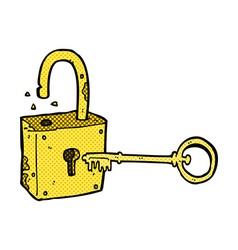 caroon rusty old padlock vector image vector image