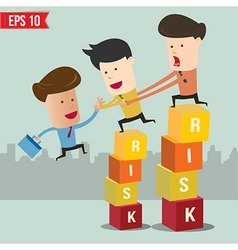 Cartoon business man helping team climbing risk vector image