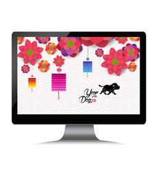 chinese new year with blossom on monitor year of vector image