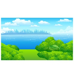 City skyline green landscape vector