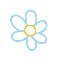 color line beautiful flower with cute petals vector image