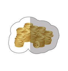 color silhouette sticker of stacked coins vector image vector image