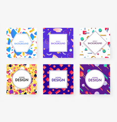 colorful geometric covers set vector image vector image