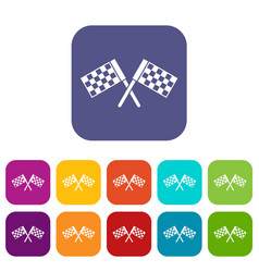 Crossed chequered flags icons set vector