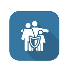 Family insurance solutions and services icon vector