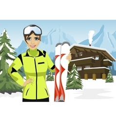 female mountain skier standing in front of chalet vector image vector image