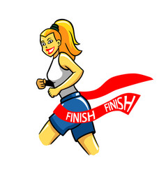 girl running reach finish line vector image