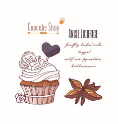 hand drawn cupcake with stars of anise vector image