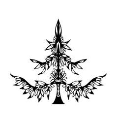 Hand drawn ethnic christmas tree zentangle style vector