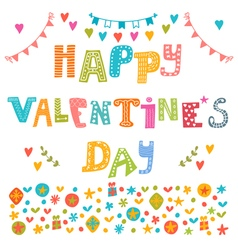 Happy Valentines Day poster Cute greeting card vector image vector image