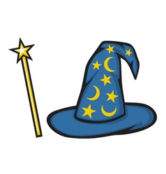 Hat of the wizard and magic stick vector image vector image