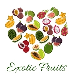 Heart with exotic fruit poster vector