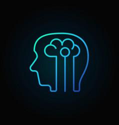 Human head with brain blue icon - vector