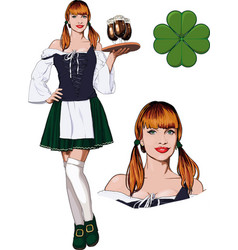 Irish girl with beer vector