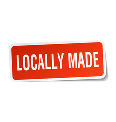 Locally made square sticker on white vector