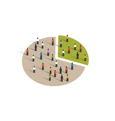 people crowd pie chart group graphic sampling vector image vector image