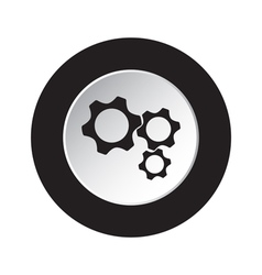 Round black and white button - three cogwheel icon vector