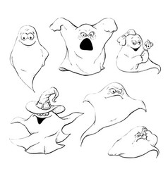 set of ghost characters emoticons isolated vector image