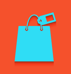 Shopping bag sign with tag whitish icon vector