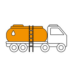 Sketch color silhouette truck transporter of fuel vector
