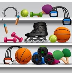 Sport store shelf vector