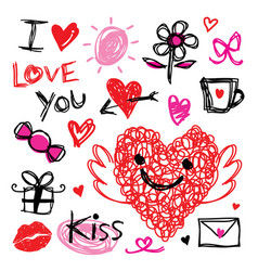 Sweetheart i love you valentine heart cute cartoon vector