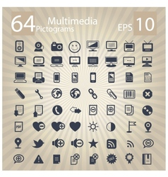 technology multimedia symbols set vector image