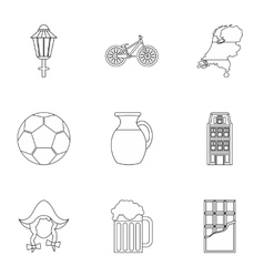 Tourism in holland icons set outline style vector