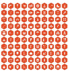 100 tackle icons hexagon orange vector