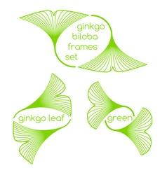 Linear ginkgo biloba leaves frames vector image