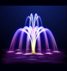 Lit night fountain realistic vector