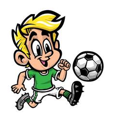 Cartoon boy kid playing football or soccer in a vector