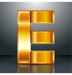 Letter metal gold ribbon - e vector