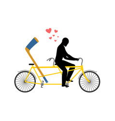 Lover hockey hockey-stick on bicycle lovers of vector
