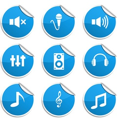 Audio stickers vector