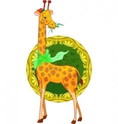 cartoon illustration giraffe with scarf vector image