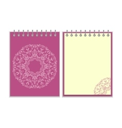Purple cover notebook with round ornate pattern vector