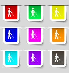 Blind icon sign set of multicolored modern labels vector