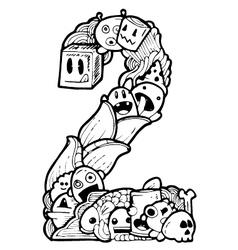 doodle number 2 vector image