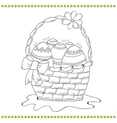 Outlined easter basket of eggs vector